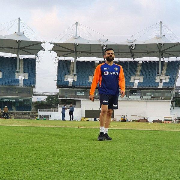Indian skipper Virat Kohli during practice