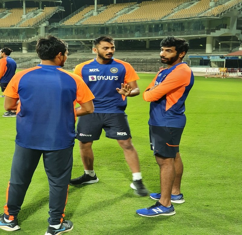 Jaspreet Bumrah along with other pacers in nets