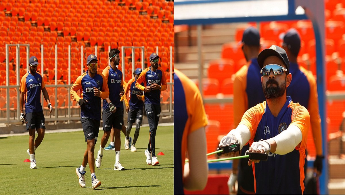 Team India's net session at Ahmedabad's Motera Stadium ahead of IND vs ENG 3rd pink-ball Test