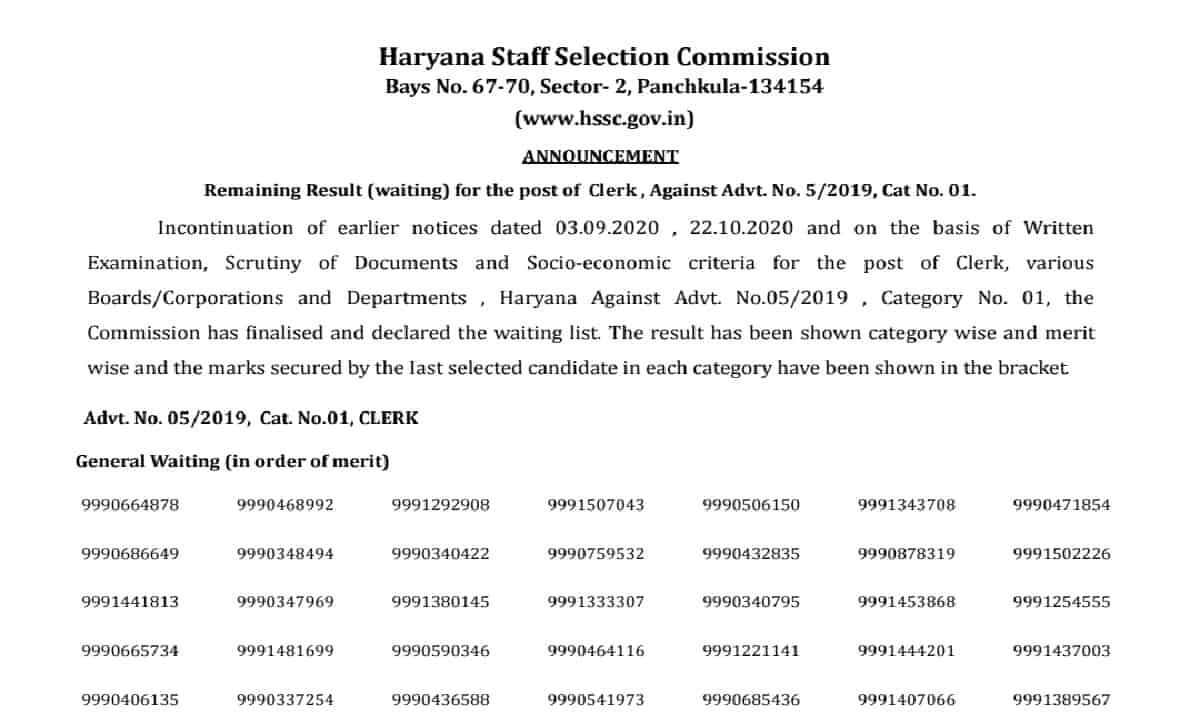 HSSC Clerk Waiting List 2021 Released, Direct Link for Advt 5/2019 Final Result
