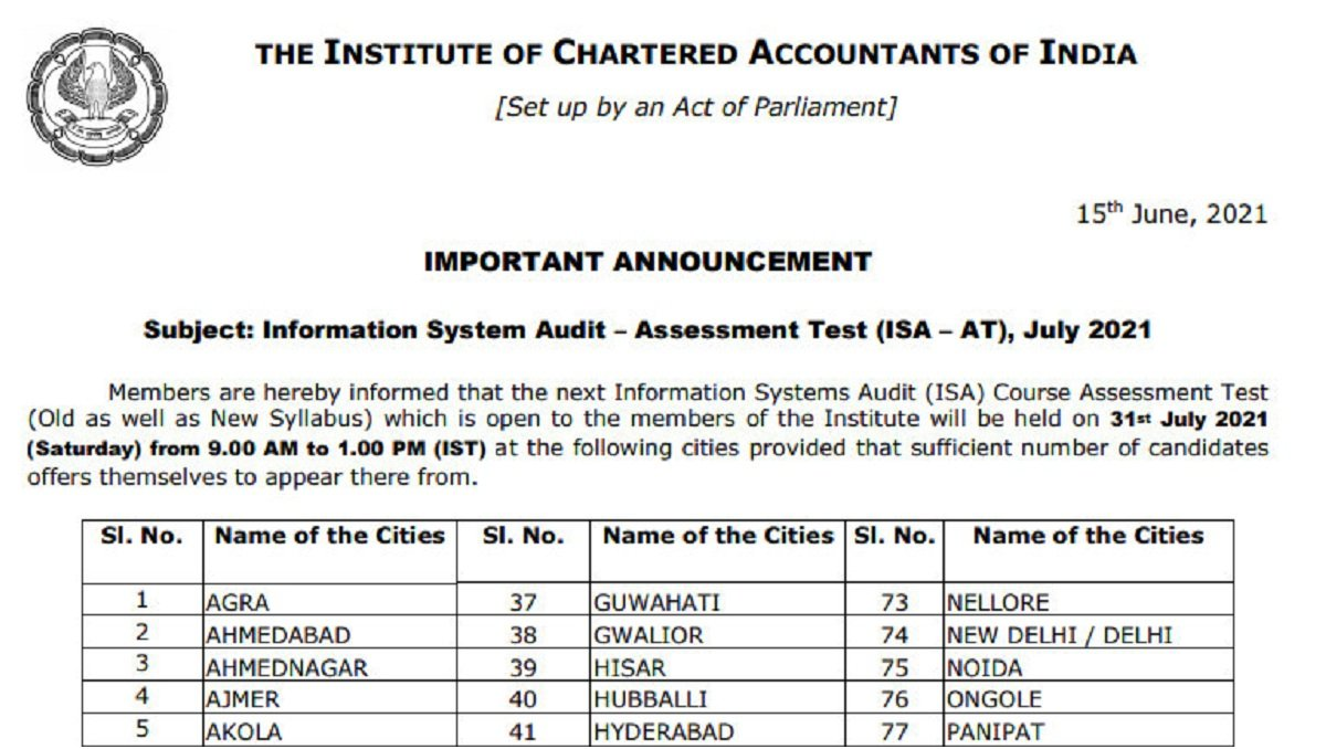 ICAI ISAAT July 2021 Notification Out, Online Registration beginning on 19 June