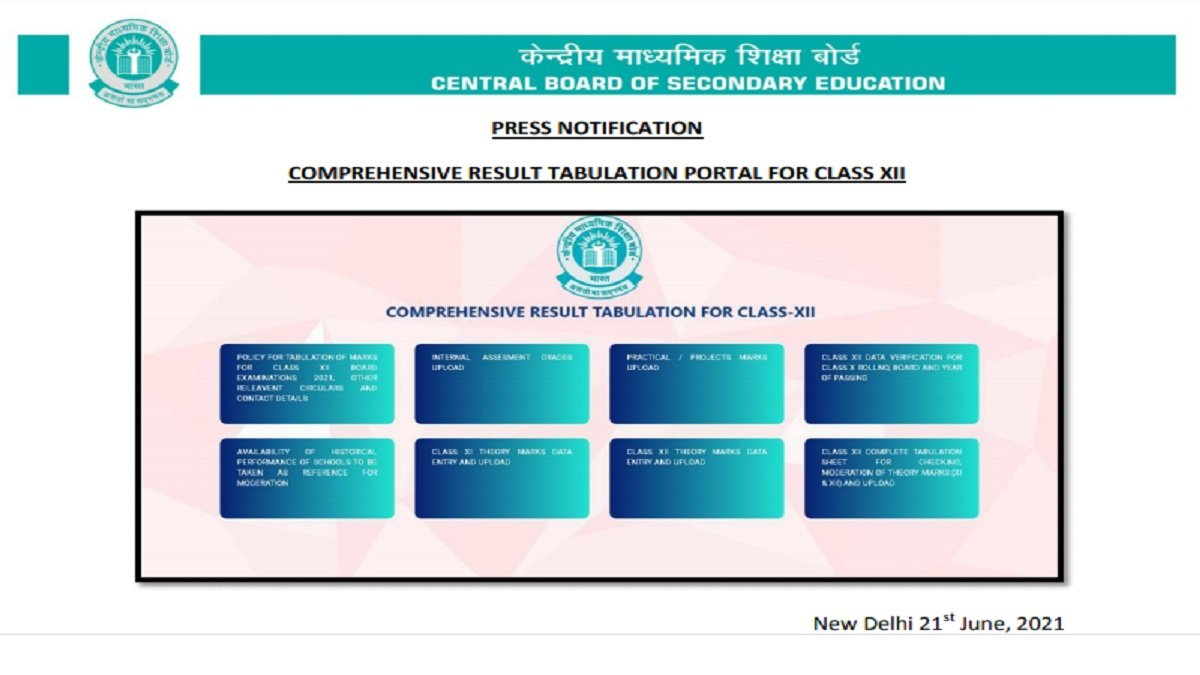 CBSE 12th Result 2021: Board launches Tabulation portal of XII marks/grades, Releases Tabulation Policy