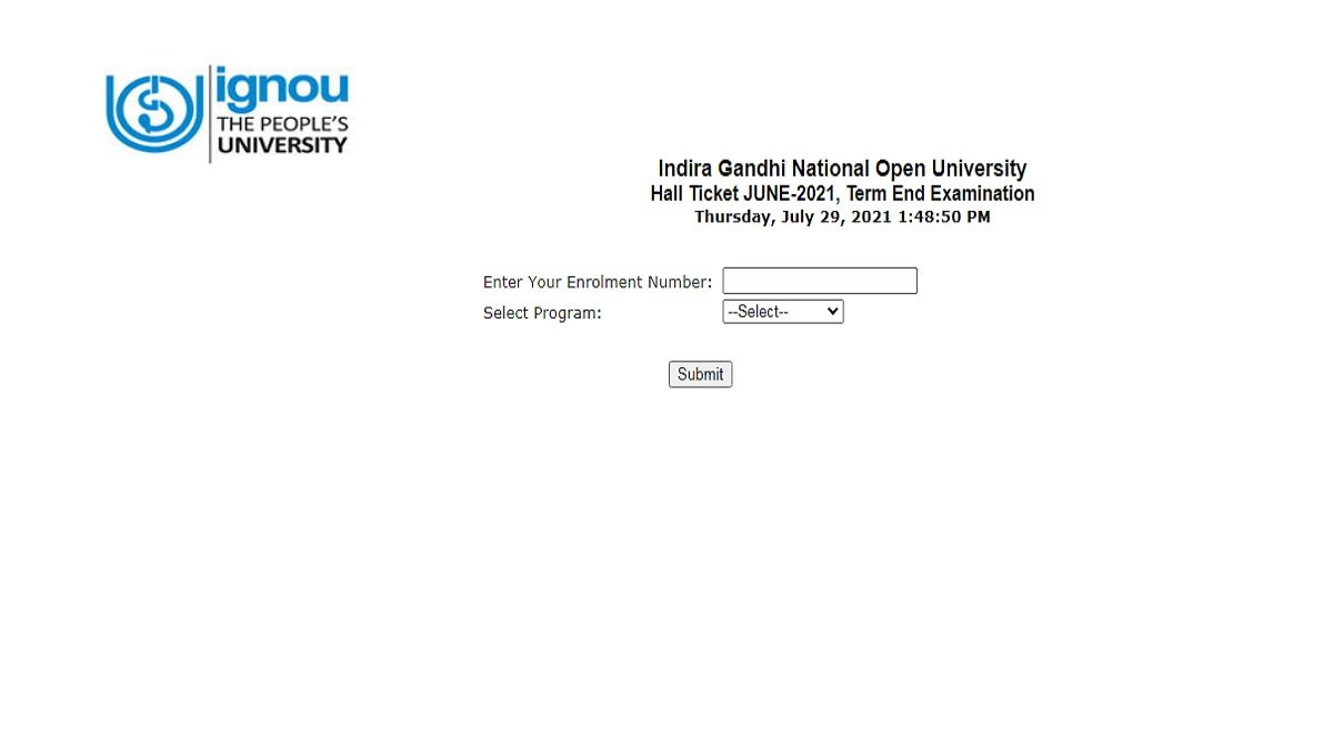 IGNOU Hall Ticket August 2021 Out @ignou.ac.in; Direct Link to Download Here