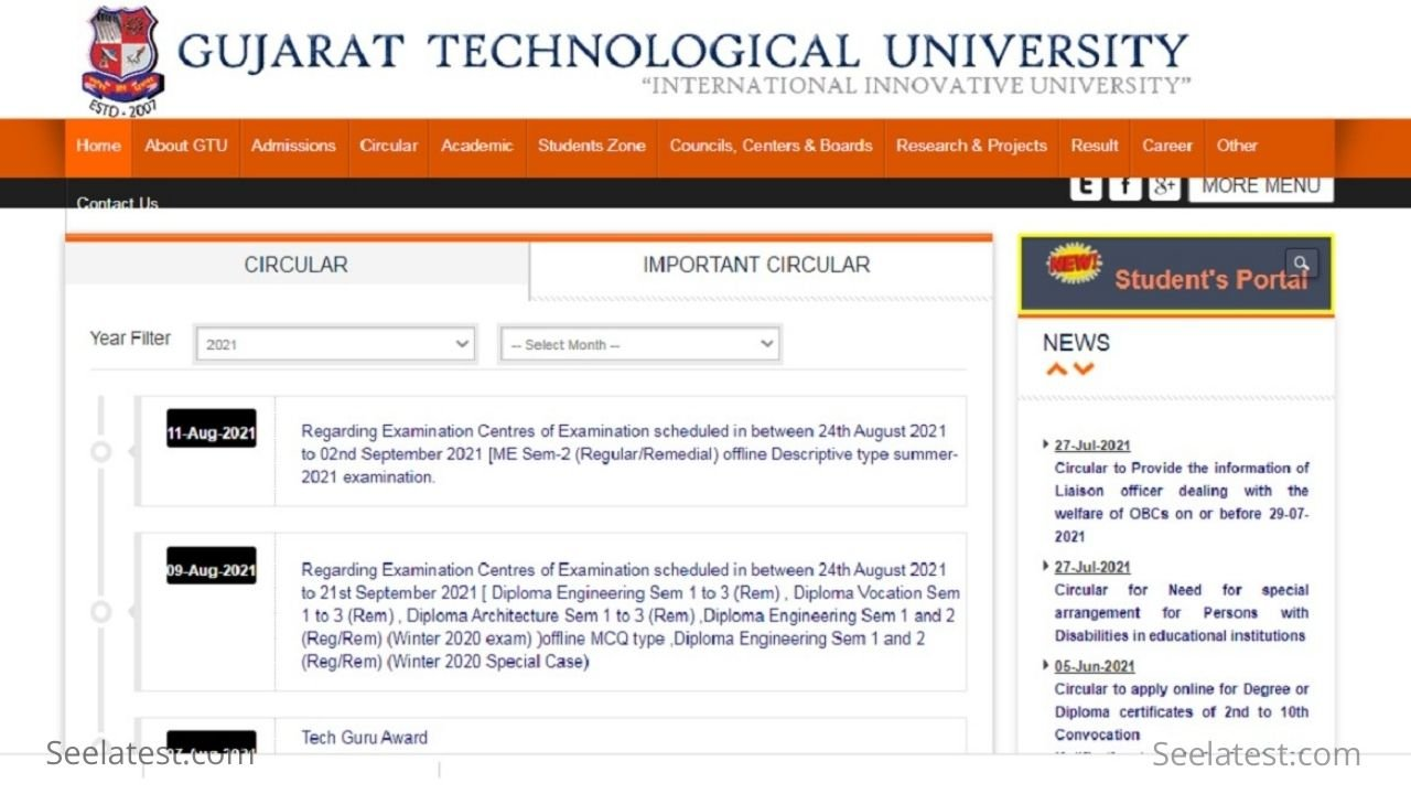 GTU 3rd Sem Remedial Exam 2021 Time Table Released @gtu.ac.in; Exams from 24 August