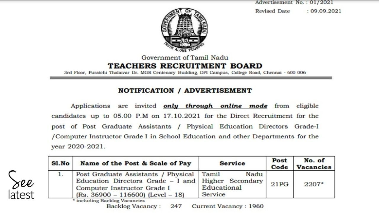 TRB PG Assistant Notification 2021 Released; Apply Online for 2207 Vacancies Before 17 October