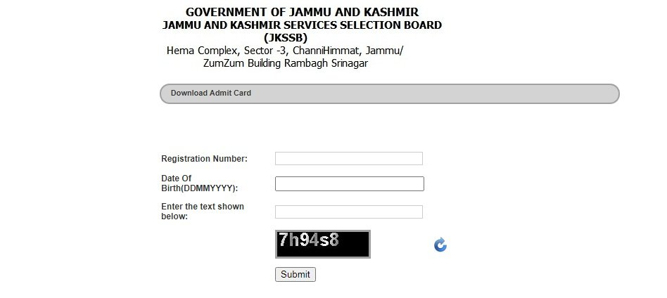 jkssb admit card for cbt from 25 sept to 1 october