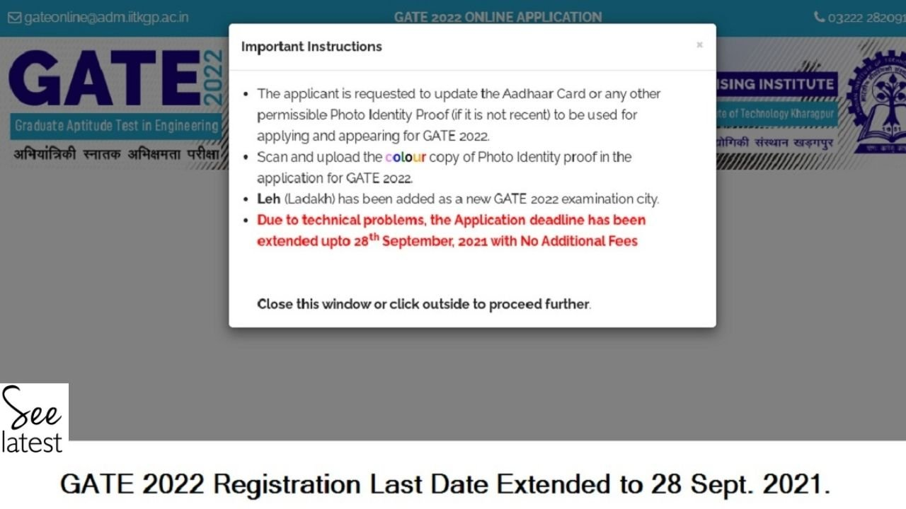 GATE 2021 Registration Last Date Extended to September 28, Apply Online @ gate.iitkgp.ac.in