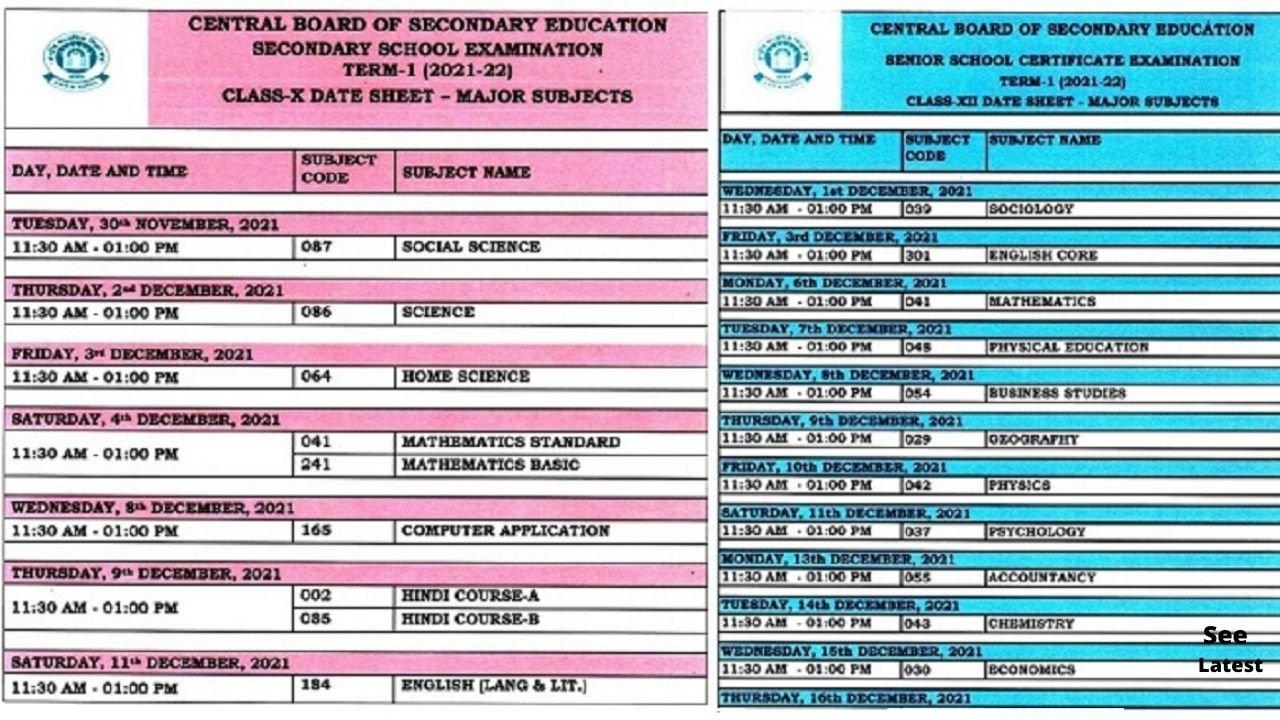 CBSE Date Sheet 2022: Class 10, 12 Term-1 Exam Dates Out at Twitter Handle; Admit Card Update Here