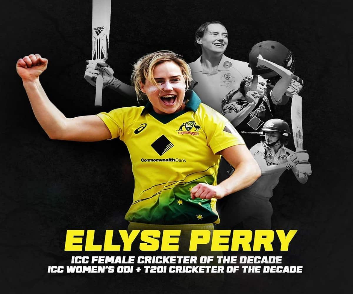 ICC Awards: Ellyse Perry wins Rachael Heyhoe Flint Award for ICC Female Cricketer of the Decade
