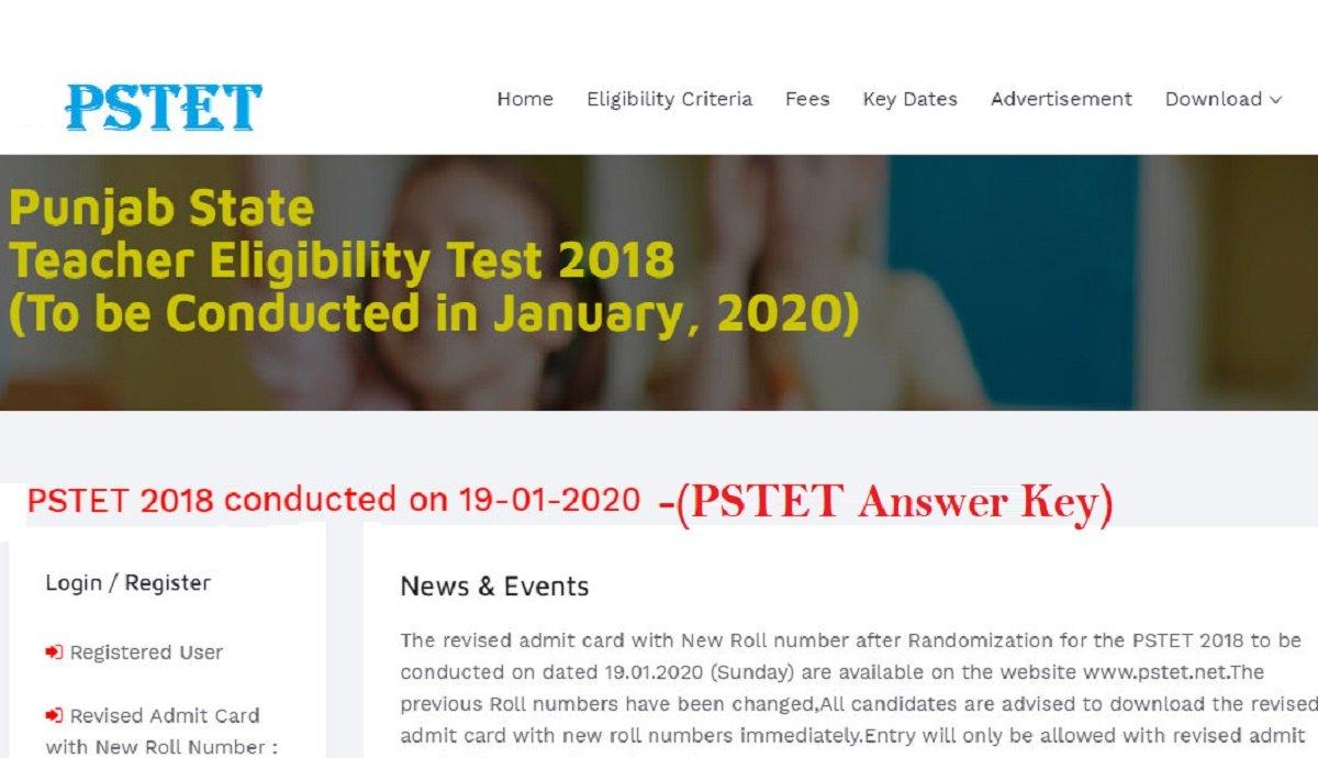PSTET Answer Key 19 January 2020 | Punjab TET Paper 1 2 ...