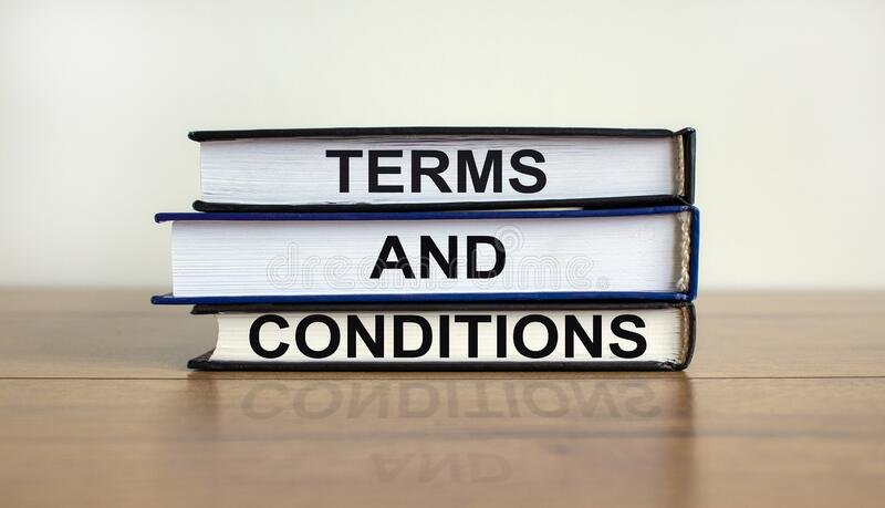 terms-conditions-symbol-books-text-beautiful-wooden-table-white-background-business-concept-copy-space-203604408